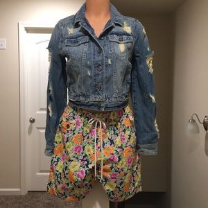 Express Womens  small Cropped Jean Jacket Denim